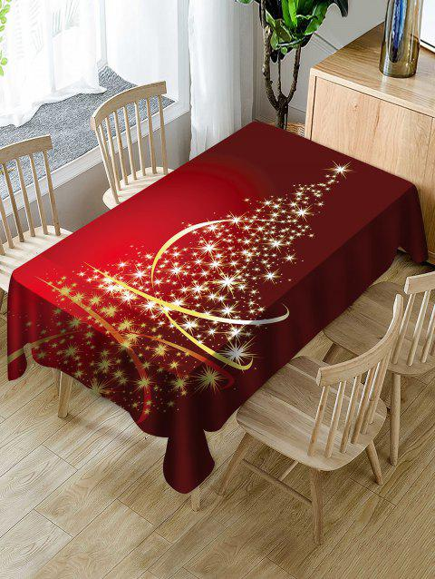 Christmas Star Tree Print Fabric Waterproof Tablecloth - RED W54 X L72 INCH