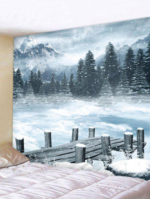 Snowy Forest Mountain Tapestry Wall Hanging Decoration - WHITE W91 X L71 INCH