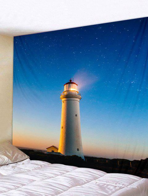 Starry Sky Lighthouse Print Tapestry Wall Hanging Decoration - multicolor W79 X L71 INCH