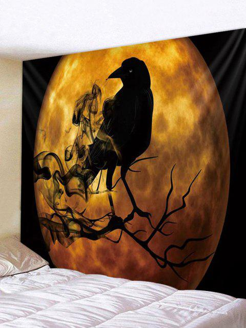 Halloween Moon Crow Print Tapestry Wall Hanging Decor - multicolor W59 X L59 INCH