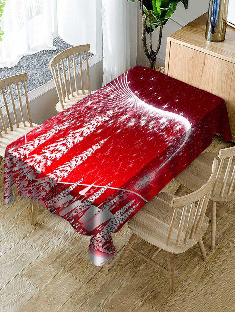 Christmas Forest Print Fabric Waterproof Tablecloth - RED W54 X L72 INCH