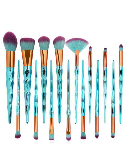 Cosmetic 15Pcs Extra Soft Fiber Hair Eyeshadow Blush Powder Brush Suit - multicolor D
