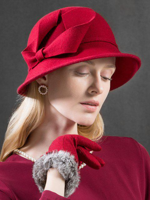 Bowknot Side Solid Color Bowler Hat - RED