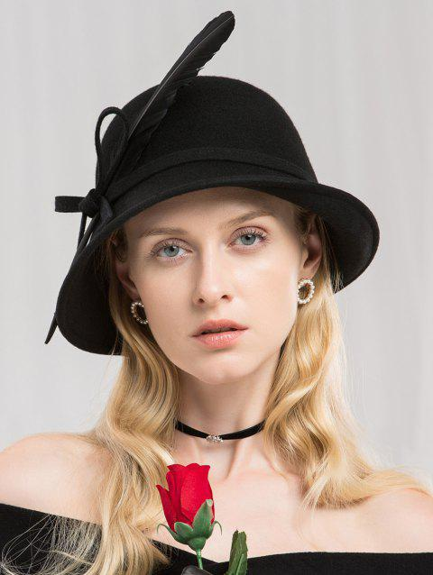 Elegant Bowknot Feather Bowler Hat - BLACK