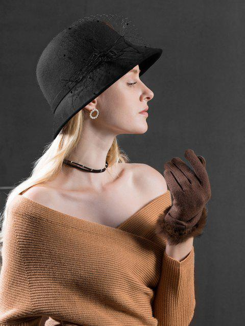 Stylish Solid Color Feather Woolen Hat - BLACK