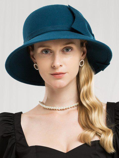 Bowknot Side Solid Color Woolen Hat - PEACOCK BLUE