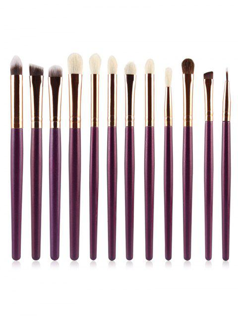 12Pcs Ultra Soft Cosmetic Eyeshadow Blending Eyebrow Brush Suit - DULL PURPLE
