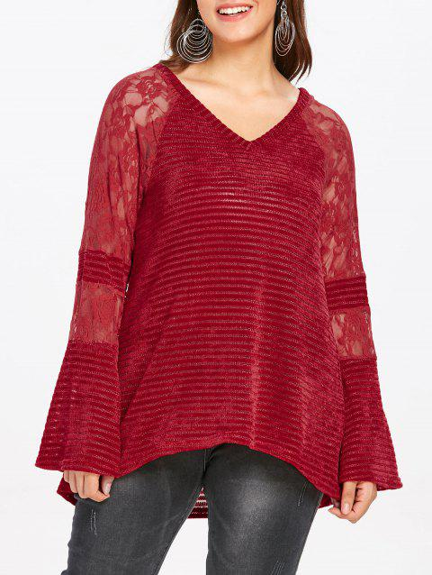 Plus Size Lace Panel Raglan Sleeve Knit Top - RED WINE L