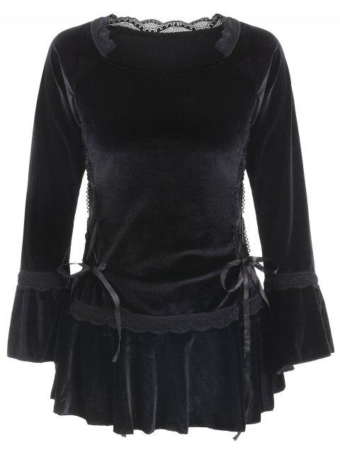Gothic Style Long Sleeve Sweetheart Neck Lace-Up Pure Color Women's Blouse - BLACK M