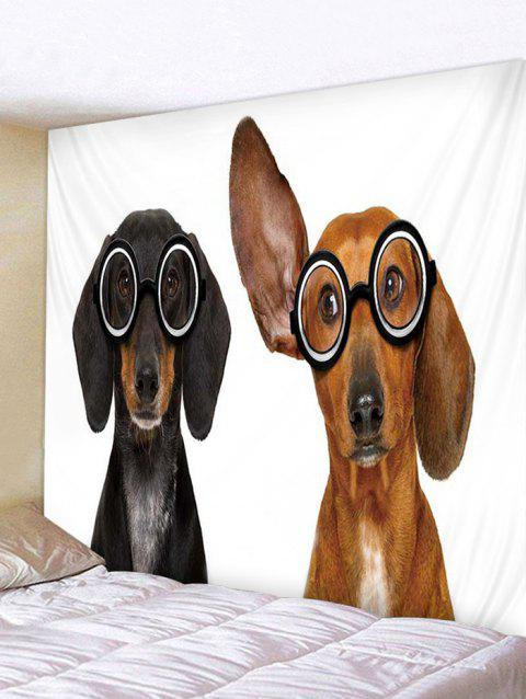 Dogs In Glasses Print Tapestry Wall Hanging Decoration - multicolor W79 X L59 INCH