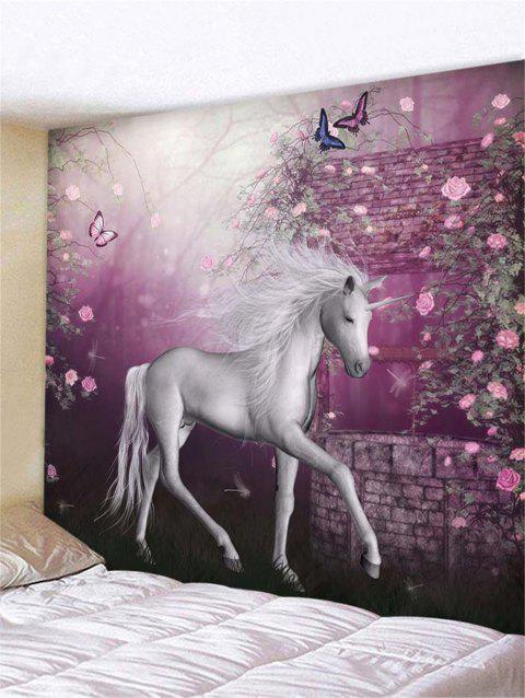 Flower Unicorn Print Tapestry Wall Hanging Decoration - multicolor W59 X L51 INCH