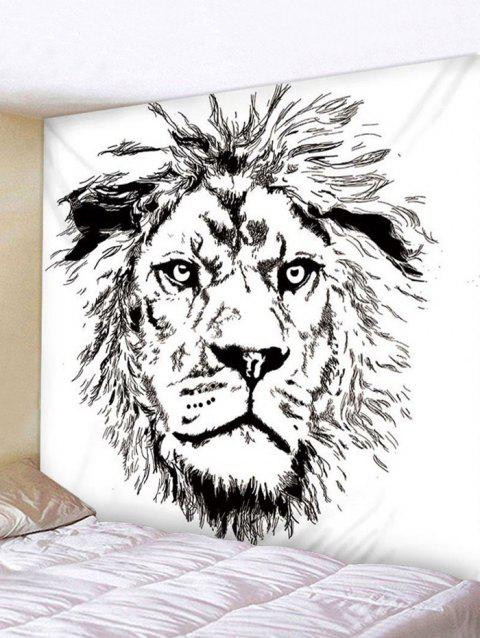 Lion Print Tapestry Wall Hanging Art Decoration - WHITE W91 X L71 INCH