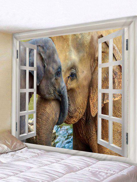Window Elephants Print Tapestry Wall Hanging Decoration - multicolor W91 X L71 INCH