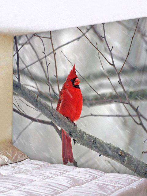 Branch Bird Print Tapestry Wall Hanging Decoration - multicolor W79 X L71 INCH