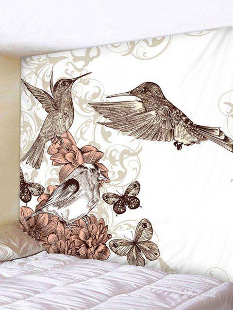 Flower and Birds Print Tapestry Wall Hanging Decoration - multicolor W59 X L59 INCH