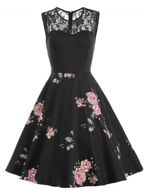 Lace Yoke Floral Fit and Flare Vintage Dress - BLACK XL