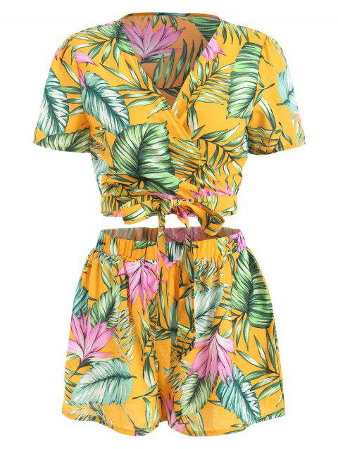 Tropical Print Shorts and Wrap Crop Top - YELLOW L