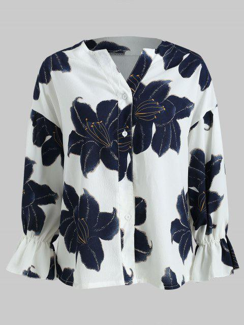 Floral Print Flare Sleeve Shirt - WHITE XL