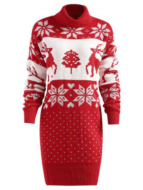 Deer Print Turtleneck Longline Sweater - RED ONE SIZE