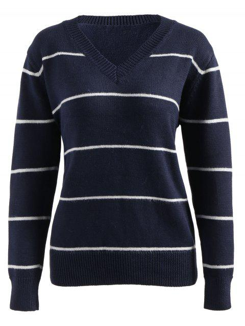 Striped V Neck Pullover Sweater - DEEP BLUE ONE SIZE