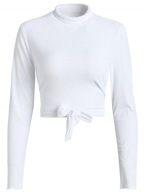 Turtleneck Tie Back Cropped Knitwear - WHITE S