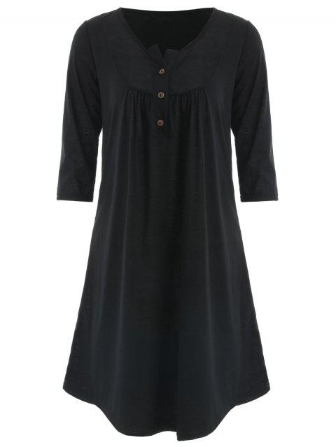 Button Embellished Tunic Dress - BLACK L