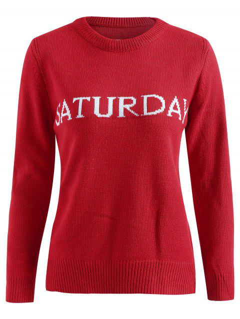 Saturday Print Knit Pullover Sweater - RED ONE SIZE