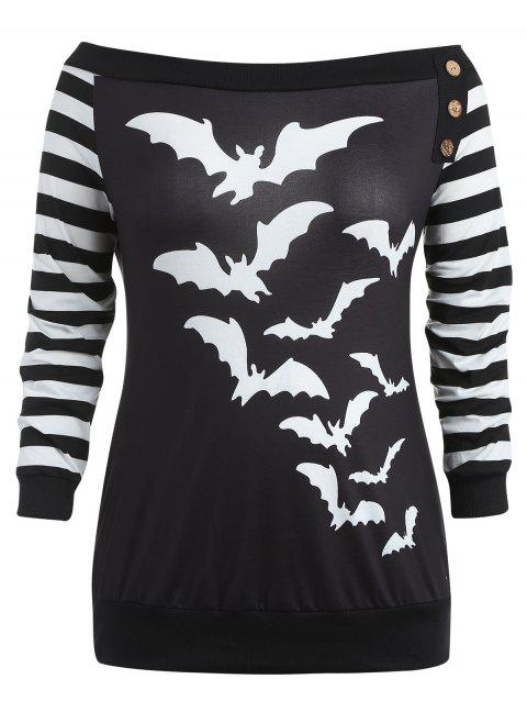 Plus Size Halloween Off Shoulder Sweatshirt - BLACK L