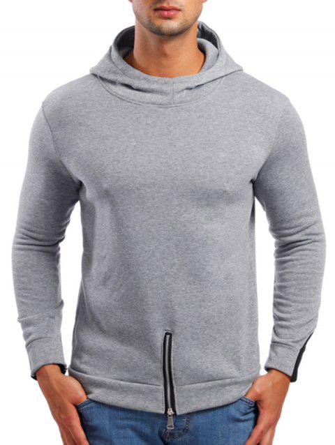 Zipper Bottom Solid Color Hoodie - LIGHT GRAY M