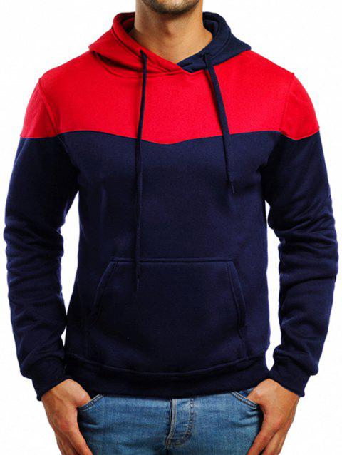Casual Contrast Color Drawstring Hoodie - CADETBLUE 2XL