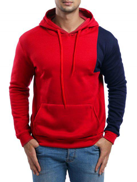 Asymmetric Contrast Color Pullover Hoodie - RED XS