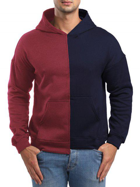 Raglan Sleeve High Low Hem Contrast Color Hoodie - CADETBLUE L