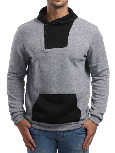 Contrast Color Zipper Placket Sweatshirt - LIGHT GRAY 2XL