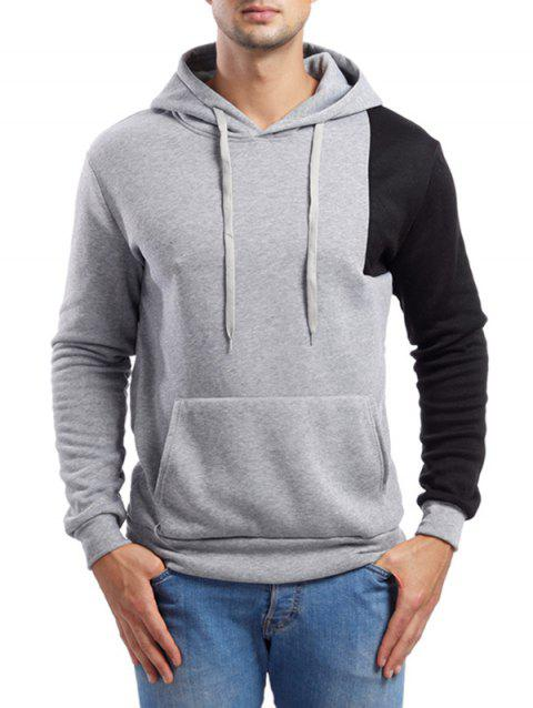 Asymmetric Contrast Color Pullover Hoodie - LIGHT GRAY M