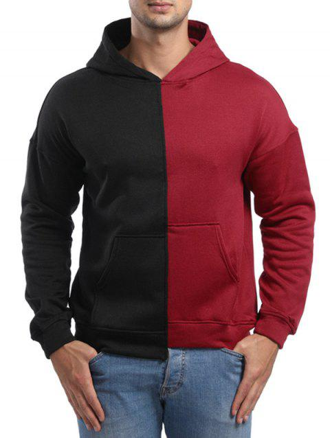 Raglan Sleeve High Low Hem Contrast Color Hoodie - RED WINE XS