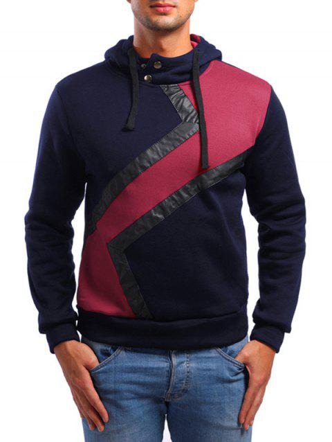 Faux Leather Patchwork Casual Hoodie - CADETBLUE S