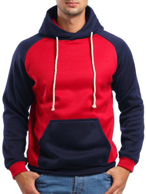 Raglan Sleeve Contrast Color Kanga Pocket Hoodie - RED 2XL