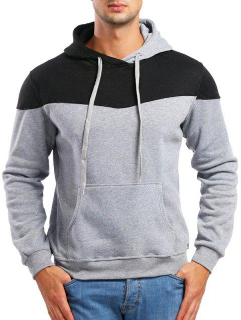 Casual Contrast Color Drawstring Hoodie - LIGHT GRAY 2XL