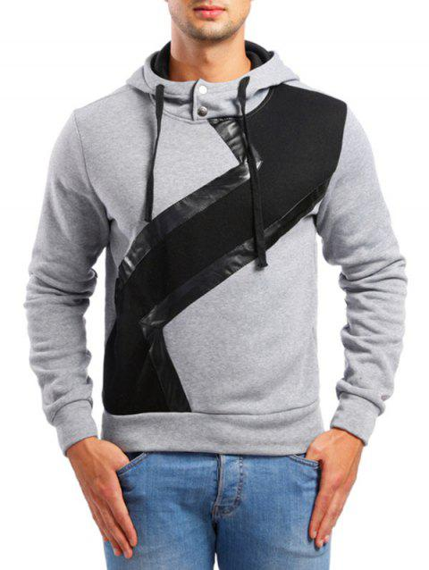 Faux Leather Patchwork Casual Hoodie - LIGHT GRAY XS