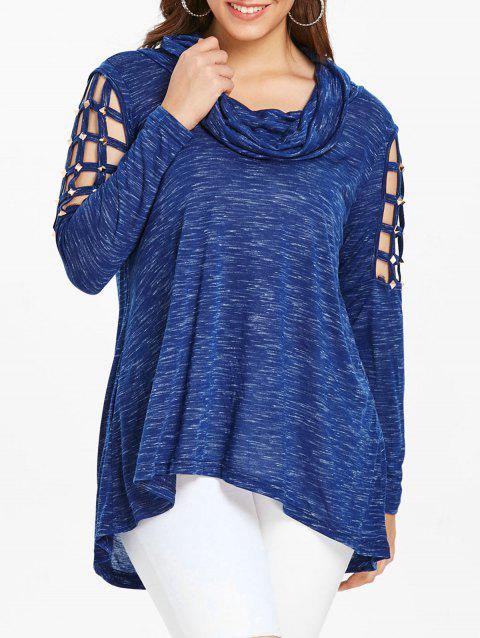 Plus Size Lattice Cutout Cowl Neck T-shirt - DEEP BLUE L