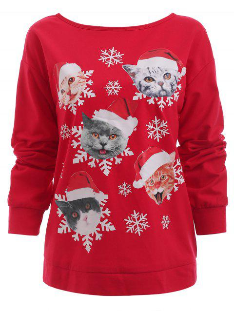 fa48773962f 17% OFF  2019 Sweat-shirt De Noël Chats Imprimés En Rouge ...
