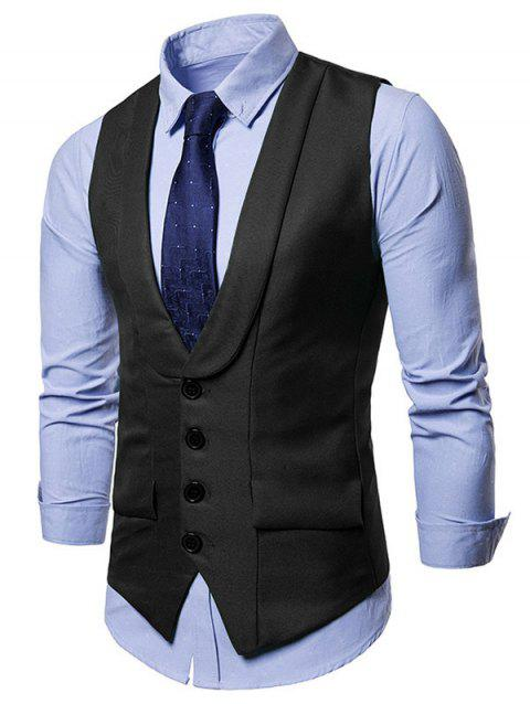 Solid Color Single Breasted Waistcoat - CARBON GRAY L