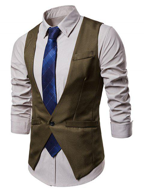 Single Button V Neck Asymmetric Waistcoat - DARK KHAKI 2XL
