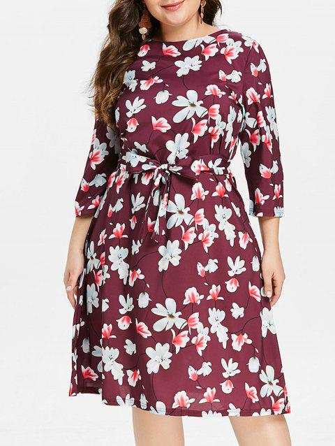 Plus Size Round Neck Floral Dress - PURPLE 3X
