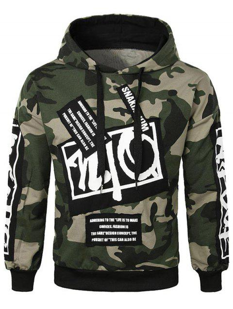 Letter Applique Camo Pullover Hoodie - ARMY GREEN 4XL