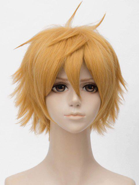 Short Straight Anime Cosplay Synthetic Wig - GOLDENROD