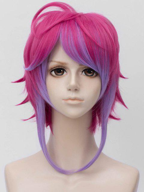 Inclined Bang Short Colormix Straight Anime Cosplay Synthetic Wig - multicolor