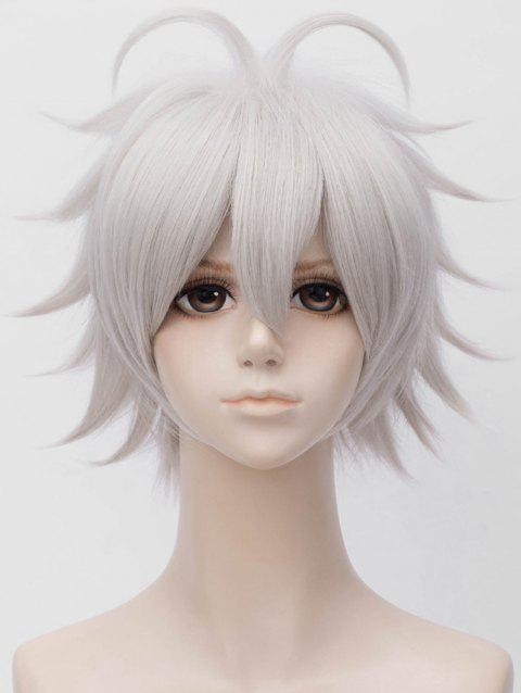 Short Side Bang Tail Upwards Straight Cosplay Anime Synthetic Wig - SILVER