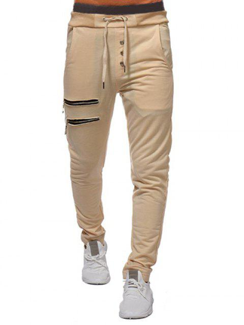 Zip and Button Embellished Solid Color Casual Pants - TAN M