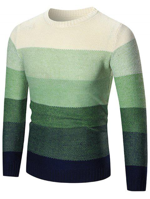 Long Sleeve Color Block Pullover Sweater - GREEN L